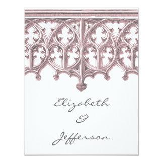 "Grey & Pink Cathedral Wedding Invitation RSVP 4.25"" X 5.5"" Invitation Card"