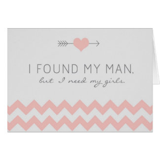 Grey & Pink Chevron Matron of Honor Request Card