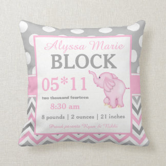 Grey Pink Elephant Baby Announcement Pillow