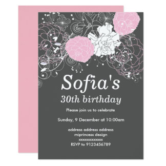 grey  pink floral invitation card woman party