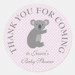 Grey pink polkadots koala bear baby shower sticker