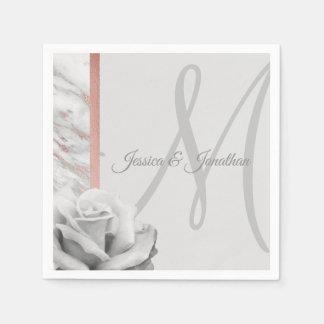 Grey & Pink Rose Gold Foil Marble Wedding Disposable Napkin