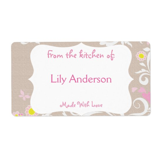 Grey & Pink Whimsical Canning Label Shipping Label