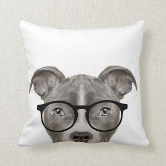 Grey pit bull with glasses pillow