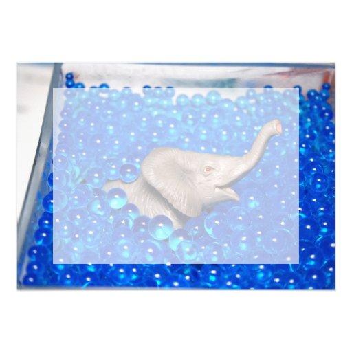 grey plastic elephant in blue balls custom announcements