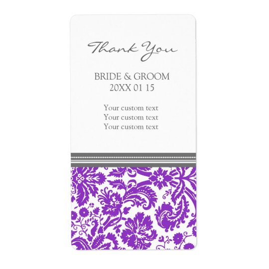 Grey Plum Damask Pattern Wedding Labels
