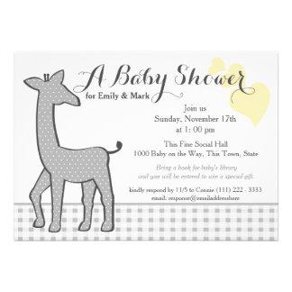 Grey Polka-dot Giraffe Baby Shower Announcements