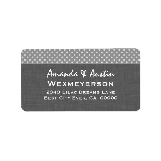 Grey Polka Dot Wedding Collection A2 Label