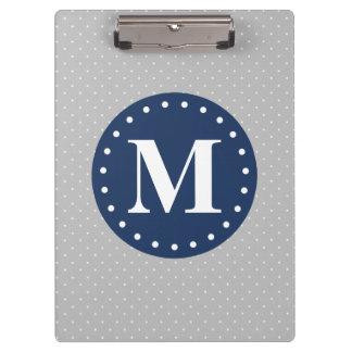 Grey Polka Dots Navy Blue Monogram Clipboard