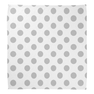 Grey polka dots on white head kerchiefs