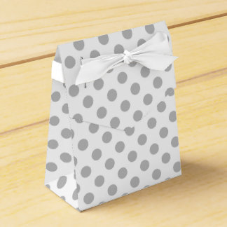 Grey polka dots on white party favour boxes