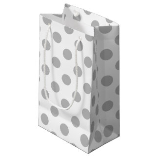 Grey polka dots on white small gift bag
