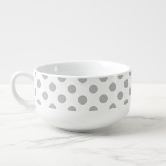 Grey polka dots on white soup bowl with handle