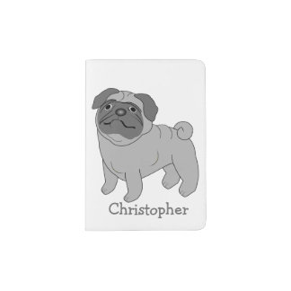 Grey Pug Dog Just Add Name Passport Holder
