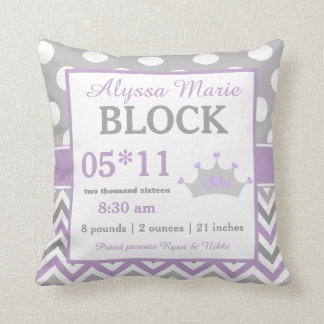 Grey Purple Crown Baby Announcement Pillow
