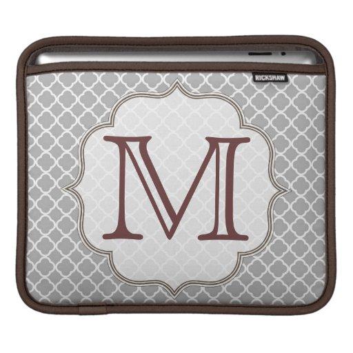 Grey Quarterfoil Latti Monogram IPAD Laptop Bag Sleeves For iPads