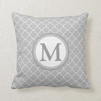 Grey Quatrefoil Monogram Decorative Pillow Throw Cushion