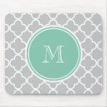 Grey Quatrefoil Pattern, Mint Green Monogram Mousemat