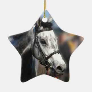 Grey race horse sports portrait ceramic star decoration