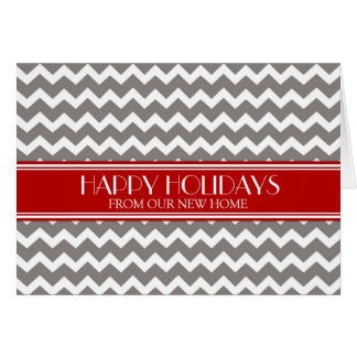 Grey Red Chevron Christmas New Address Card
