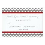 Grey Red Chevron RSVP Wedding Card 9 Cm X 13 Cm Invitation Card