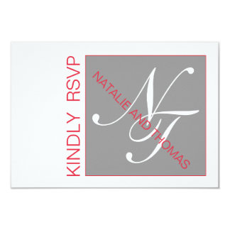 GREY RED INITIALS INTERTWINED WEDDING RSVP 9 CM X 13 CM INVITATION CARD