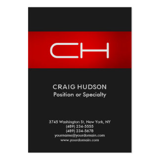 Grey Red Monogram Professional Business Card
