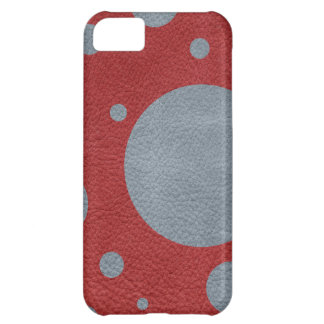 Grey & Red Scattered Spots in Leather print iPhone 5C Case