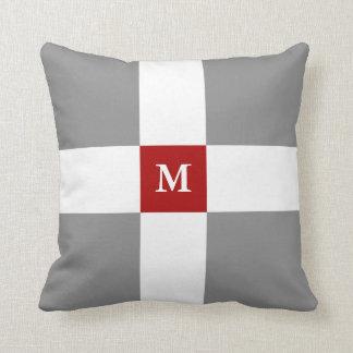 Grey Red White Cross Pattern & Custom Monogram Cushion