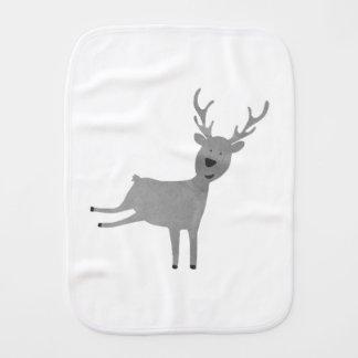 Grey Reindeer Illustration Burp Cloth
