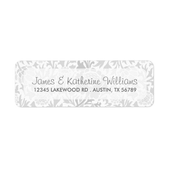 Grey Retro Floral Damask Modern Wedding Return Address Label