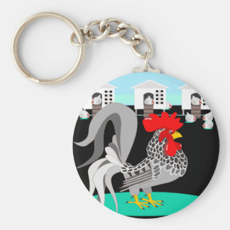Grey rooster hens key chains