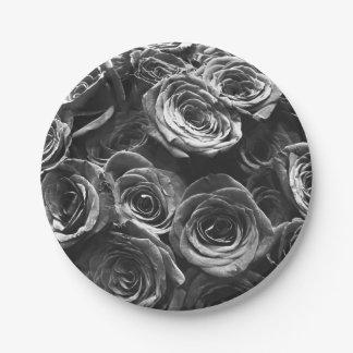 Grey Roses Paper Plate