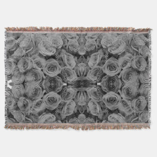 Grey roses throw blanket