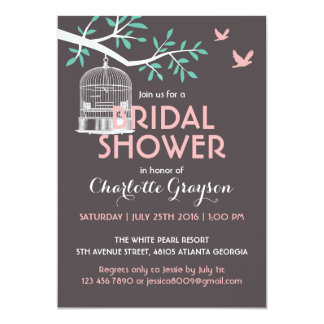 Grey Rustic Bird Cage Bridal Shower Invitation