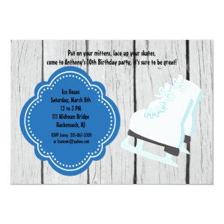 Grey Rustic Wood Ice Skating Birthday Invitation
