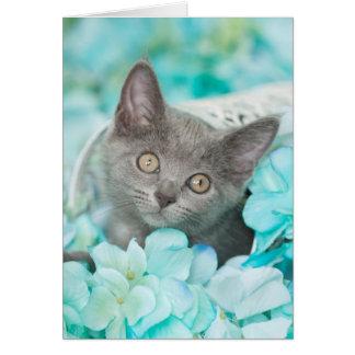 Grey Sadie Blue Floral Blank Notecard