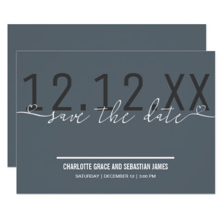 Grey Save The Date Heart Typography Personalized 9 Cm X 13 Cm Invitation Card