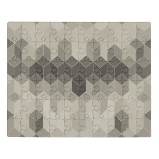Grey Scale Cube Geometric Design Jigsaw Puzzle