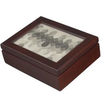 Grey Scale Cube Geometric Design Keepsake Box