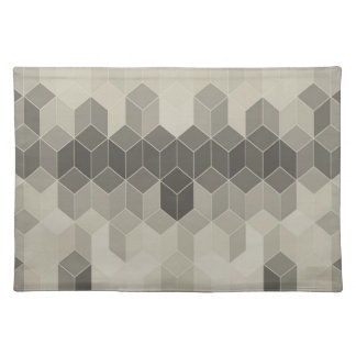 Grey Scale Cube Geometric Design Placemat
