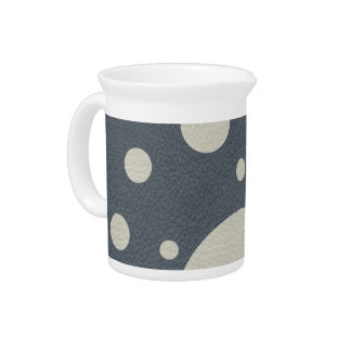 Grey Scattered Spots on Stone Leather print Drink Pitchers