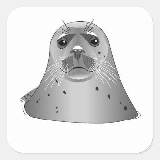 Grey Sea Lion Square Sticker