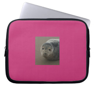 Grey seal pup. Cute seaside baby Laptop Sleeve