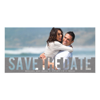 Grey See Through Save the Date Card Photo Card