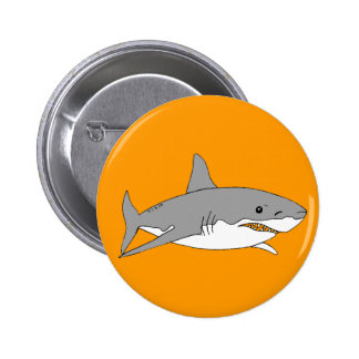 Grey shark 6 cm round badge