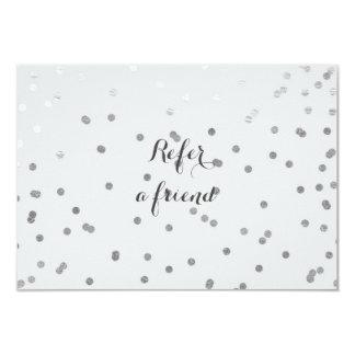 Grey & Shiny Silver Modern Dots Referral Card 9 Cm X 13 Cm Invitation Card