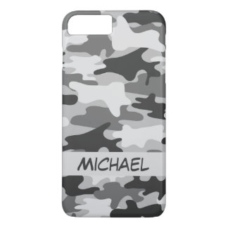 Grey Silver Camo Camouflage Personalised Name iPhone 7 Plus Case