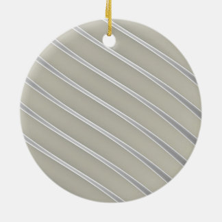 Grey Silver Curved Lines Chic abstract flow Round Ceramic Decoration
