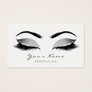 Grey Silver Makeup Artist Lashes Beauty Studio Business Card